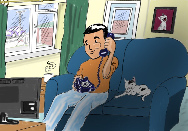 Drawing by Mark of man on the phone with a cat